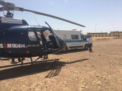 المروحية الطبية لوزارة الصحة تنقذ امرأة في حالة صحية حرجة وتنقلها من مستعجلات القرب بمدينة الريش إلى المركز الاستشفائي الجامعي محمد السادس بمراكش
