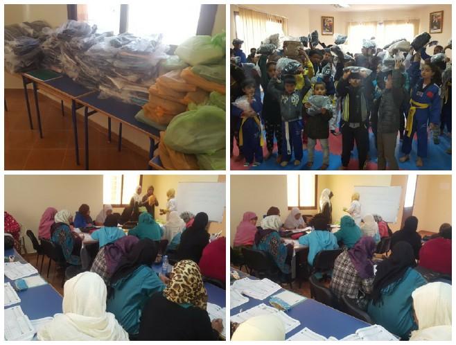 """توزيع ملابس جديدة في حفل بوجبة """" إفنوزن """" بمركز عثمان وموسى بميدلت"""